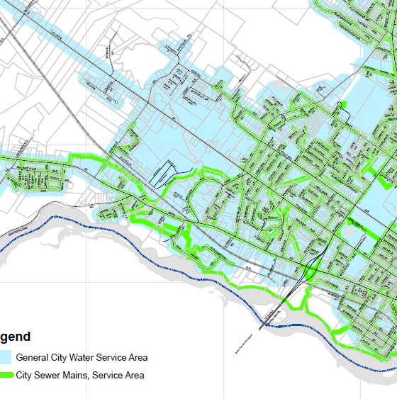 Water and Sewer Svc Areas Map